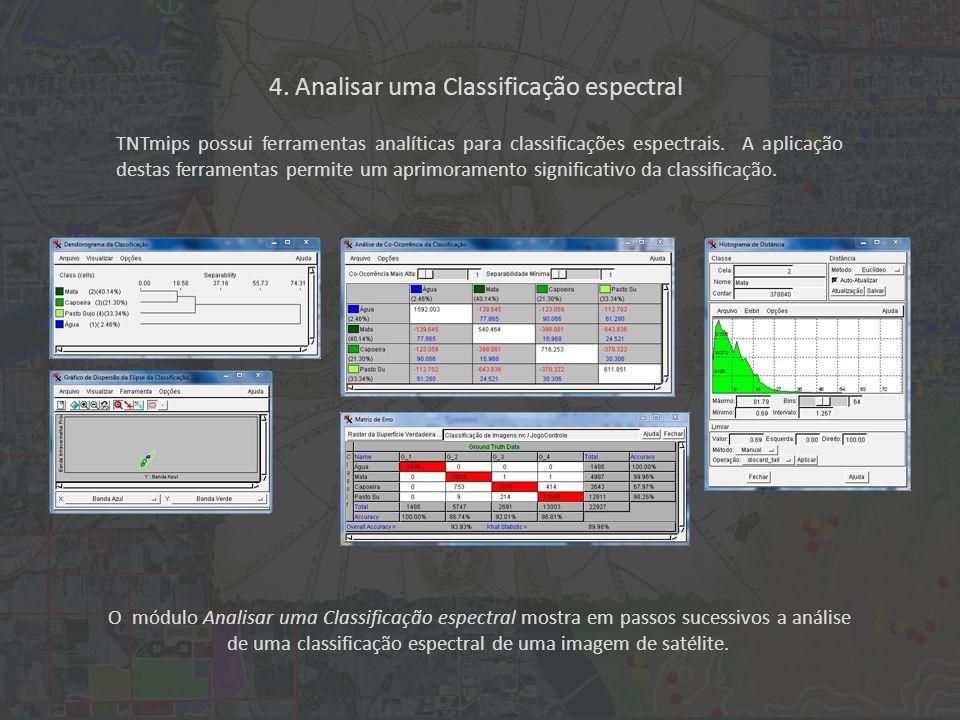 O módulo Analisar uma Classificação espectral mostra em passos sucessivos a análise de uma classificação espectral de uma imagem de satélite.