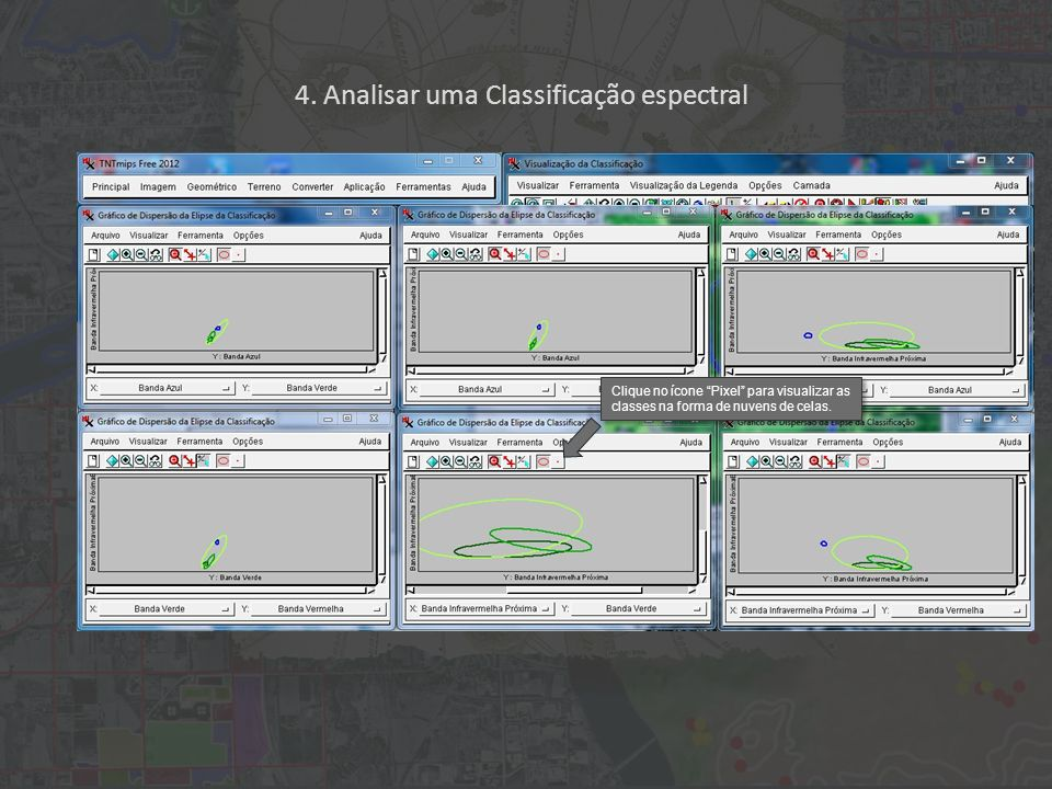 4. Analisar uma Classificação espectral Clique no ícone Pixel para visualizar as classes na forma de nuvens de celas.