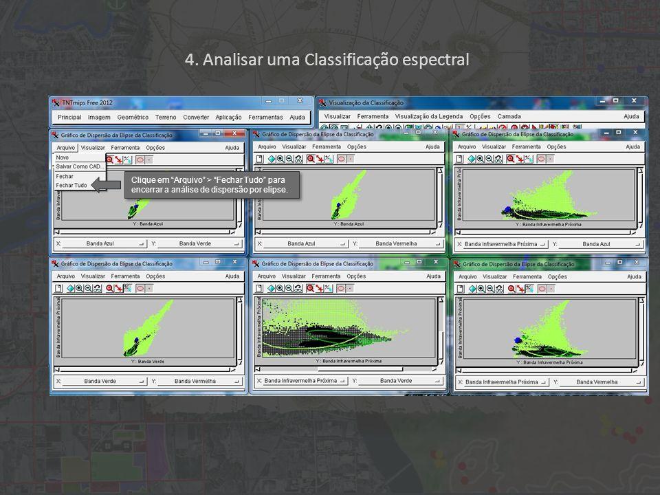4. Analisar uma Classificação espectral Clique em Arquivo > Fechar Tudo para encerrar a análise de dispersão por elipse.