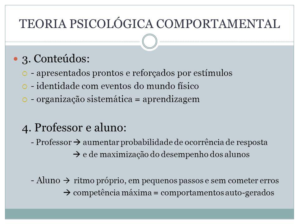 TEORIA PSICOLÓGICA COMPORTAMENTAL 3. Conteúdos: - apresentados prontos e reforçados por estímulos - identidade com eventos do mundo físico - organizaç