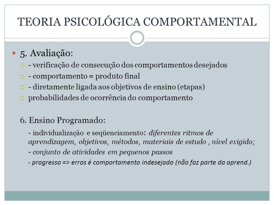 TEORIA PSICOLÓGICA COMPORTAMENTAL 5. Avaliação: - verificação de consecução dos comportamentos desejados - comportamento = produto final - diretamente