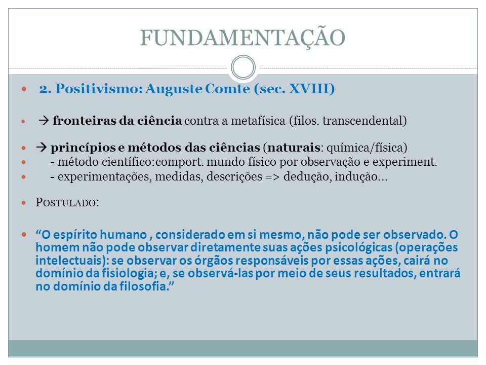 FUNDAMENTAÇÃO 2. Positivismo: Auguste Comte (sec. XVIII) fronteiras da ciência contra a metafísica (filos. transcendental) princípios e métodos das ci