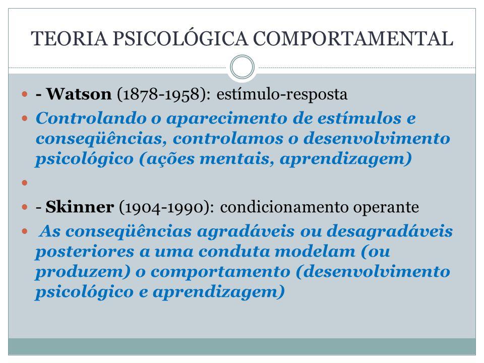 TEORIA PSICOLÓGICA COMPORTAMENTAL - Watson (1878-1958): estímulo-resposta Controlando o aparecimento de estímulos e conseqüências, controlamos o desen