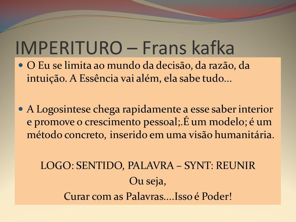 IMPERITURO – Frans kafka O Eu se limita ao mundo da decisão, da razão, da intuição.