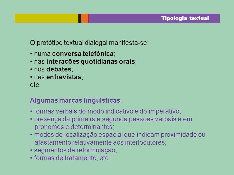 O protótipo textual dialogal manifesta-se: numa conversa telefónica; nas interações quotidianas orais; nos debates; nas entrevistas; etc. Algumas marc