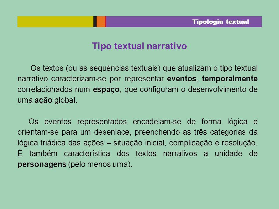 Os textos (ou as sequências textuais) que atualizam o tipo textual narrativo caracterizam-se por representar eventos, temporalmente correlacionados nu