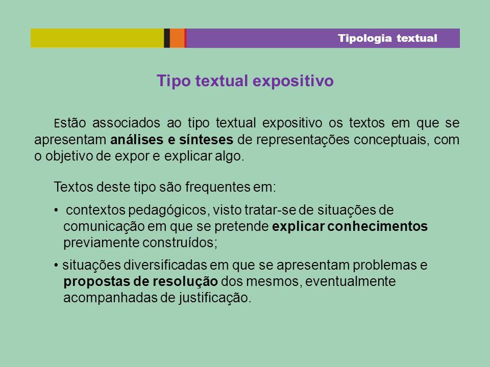 Tipo textual expositivo E stão associados ao tipo textual expositivo os textos em que se apresentam análises e sínteses de representações conceptuais,