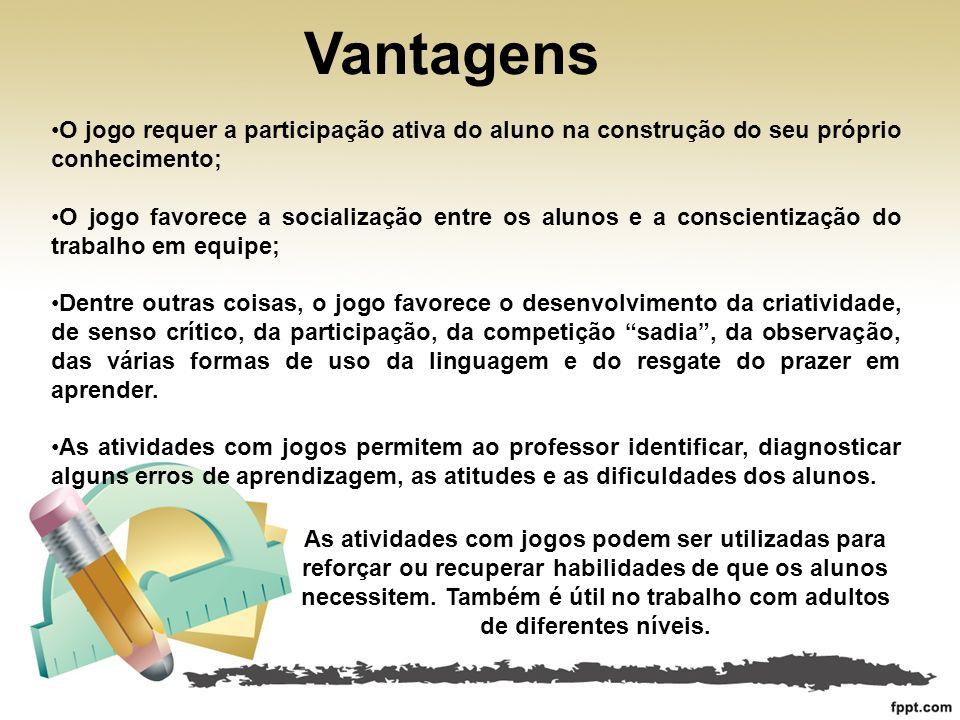 Vantagens O jogo requer a participação ativa do aluno na construção do seu próprio conhecimento; O jogo favorece a socialização entre os alunos e a co