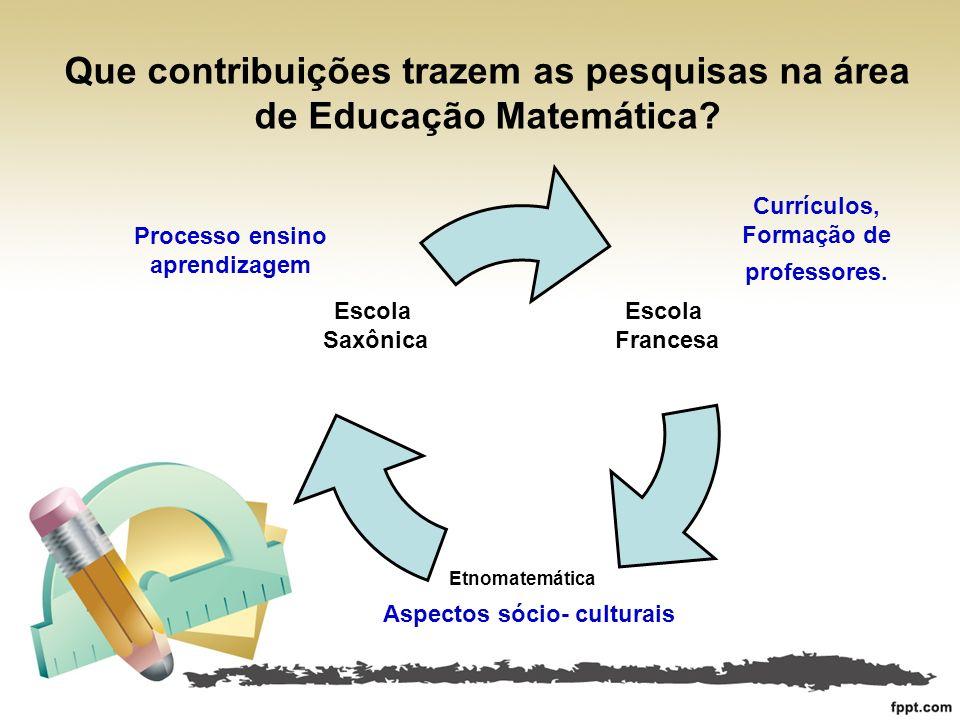 Que contribuições trazem as pesquisas na área de Educação Matemática? Processo ensino aprendizagem Currículos, Formação de professores. Aspectos sócio