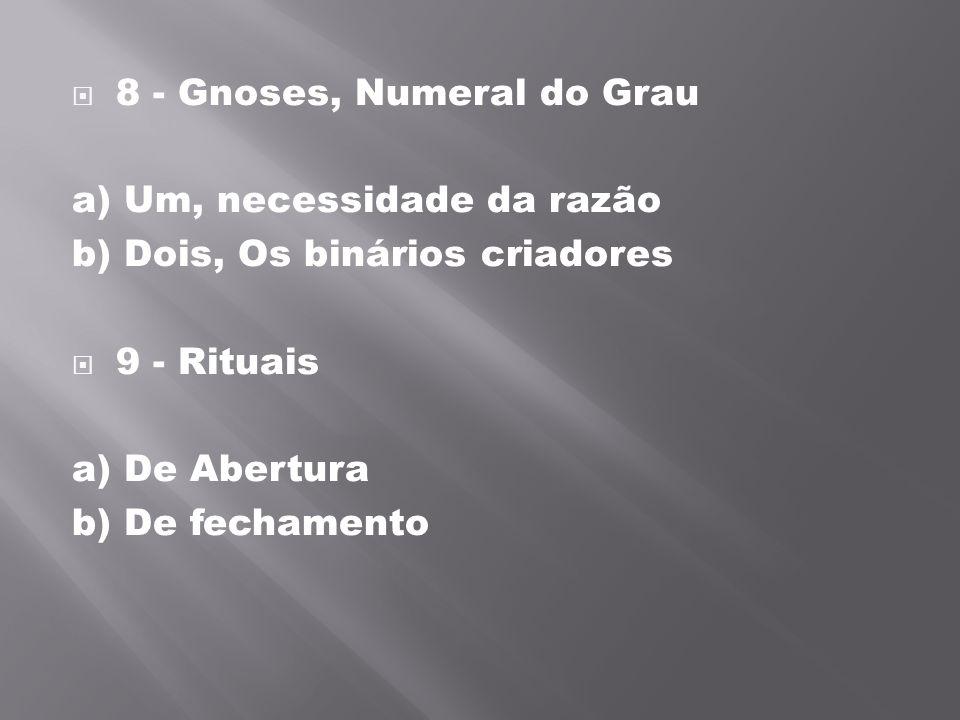 8 - Gnoses, Numeral do Grau a) Um, necessidade da razão b) Dois, Os binários criadores 9 - Rituais a) De Abertura b) De fechamento
