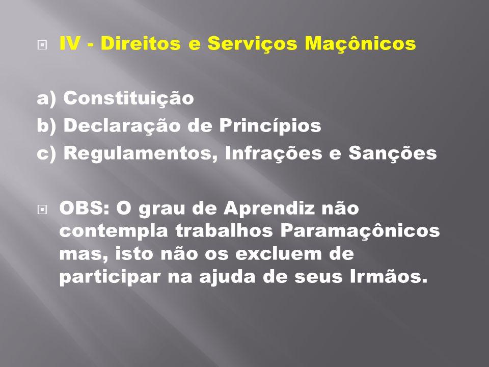 IV - Direitos e Serviços Maçônicos a) Constituição b) Declaração de Princípios c) Regulamentos, Infrações e Sanções OBS: O grau de Aprendiz não conte
