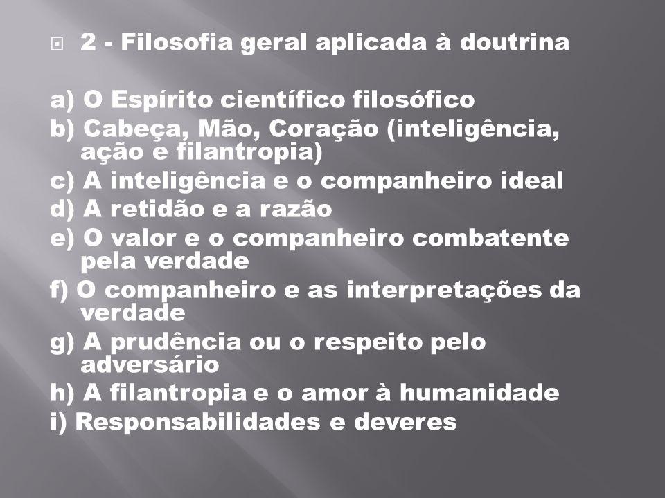 2 - Filosofia geral aplicada à doutrina a) O Espírito científico filosófico b) Cabeça, Mão, Coração (inteligência, ação e filantropia) c) A inteligê