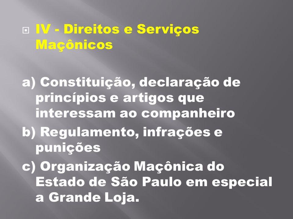 IV - Direitos e Serviços Maçônicos a) Constituição, declaração de princípios e artigos que interessam ao companheiro b) Regulamento, infrações e puni