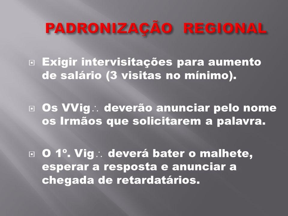 Exigir intervisitações para aumento de salário (3 visitas no mínimo). Os VVig deverão anunciar pelo nome os Irmãos que solicitarem a palavra. O 1º. Vi