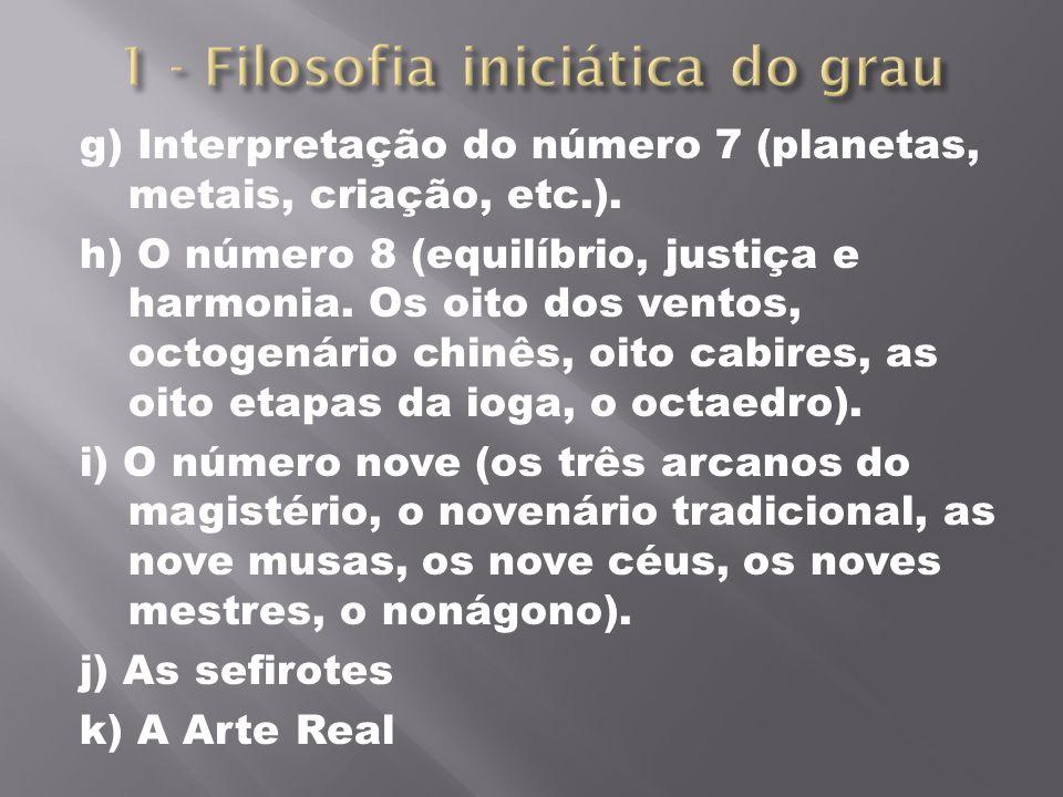 g) Interpretação do número 7 (planetas, metais, criação, etc.). h) O número 8 (equilíbrio, justiça e harmonia. Os oito dos ventos, octogenário chinês,