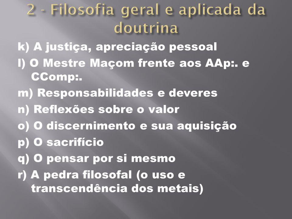 k) A justiça, apreciação pessoal l) O Mestre Maçom frente aos AAp:. e CComp:. m) Responsabilidades e deveres n) Reflexões sobre o valor o) O discernim