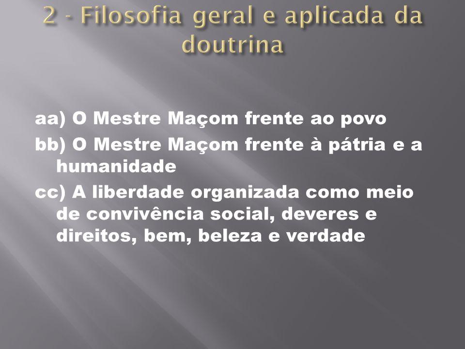 aa) O Mestre Maçom frente ao povo bb) O Mestre Maçom frente à pátria e a humanidade cc) A liberdade organizada como meio de convivência social, devere