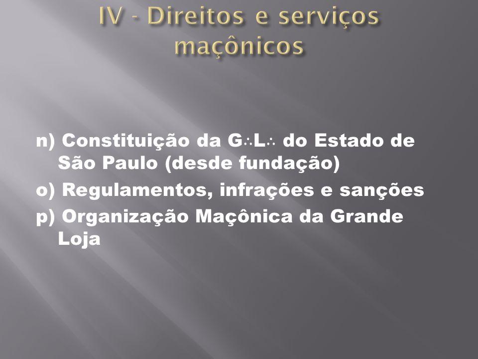 n) Constituição da G L do Estado de São Paulo (desde fundação) o) Regulamentos, infrações e sanções p) Organização Maçônica da Grande Loja