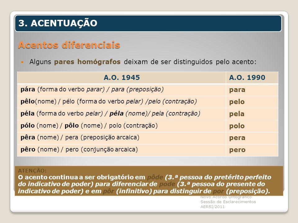 Acentos diferenciais Alguns pares homógrafos deixam de ser distinguidos pelo acento: Novo Acordo Ortográfico Sessão de Esclarecimentos AERSI/2011 3. A