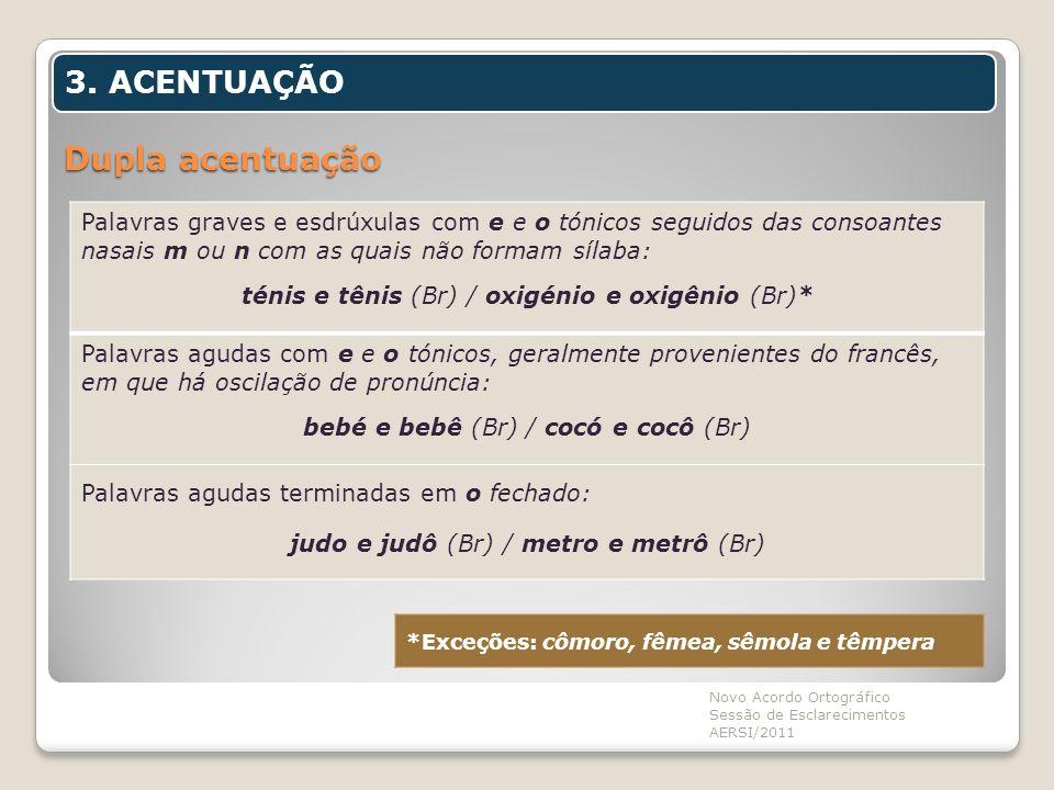 Dupla acentuação Novo Acordo Ortográfico Sessão de Esclarecimentos AERSI/2011 3. ACENTUAÇÃO Palavras graves e esdrúxulas com e e o tónicos seguidos da