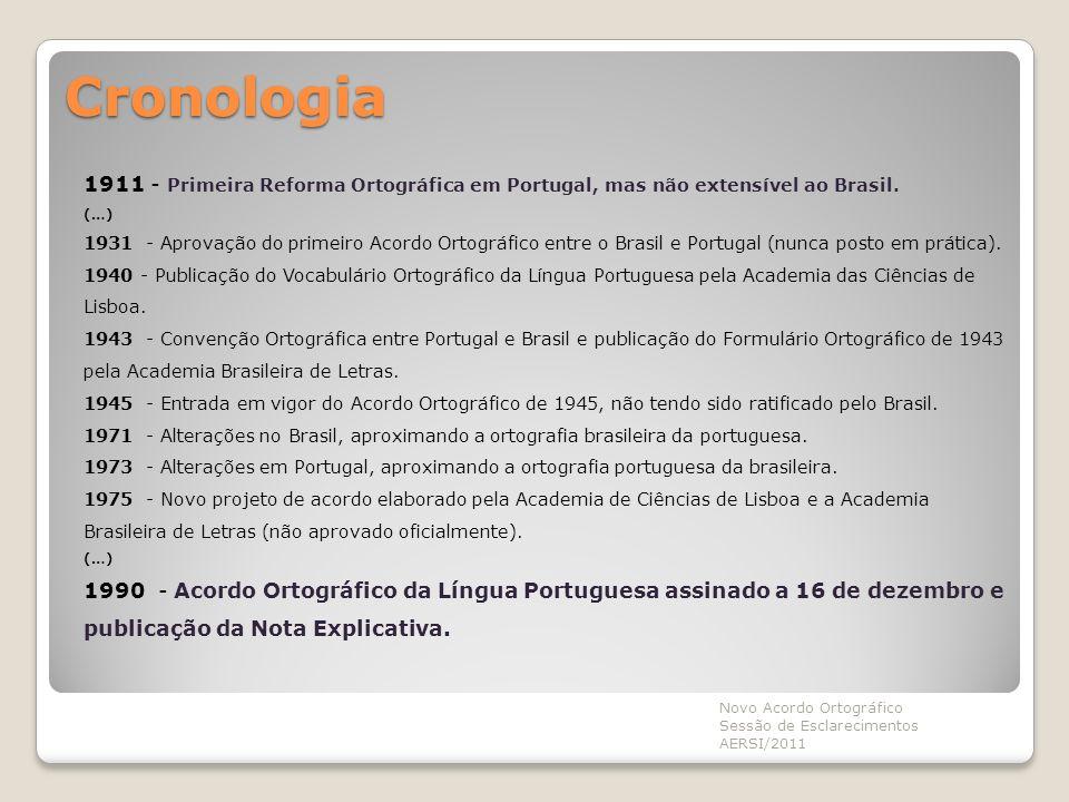 Cronologia 1911 - Primeira Reforma Ortográfica em Portugal, mas não extensível ao Brasil. (…) 1931 - Aprovação do primeiro Acordo Ortográfico entre o