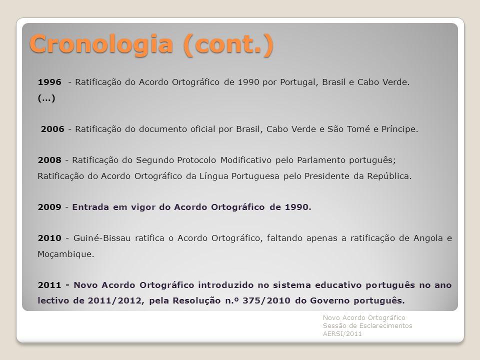 Cronologia (cont.) 1996 - Ratificação do Acordo Ortográfico de 1990 por Portugal, Brasil e Cabo Verde. (…) 2006 - Ratificação do documento oficial por