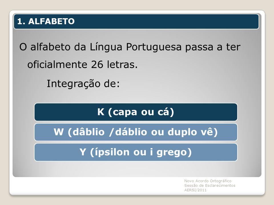 1. ALFABETO O alfabeto da Língua Portuguesa passa a ter oficialmente 26 letras. Integração de: Novo Acordo Ortográfico Sessão de Esclarecimentos AERSI