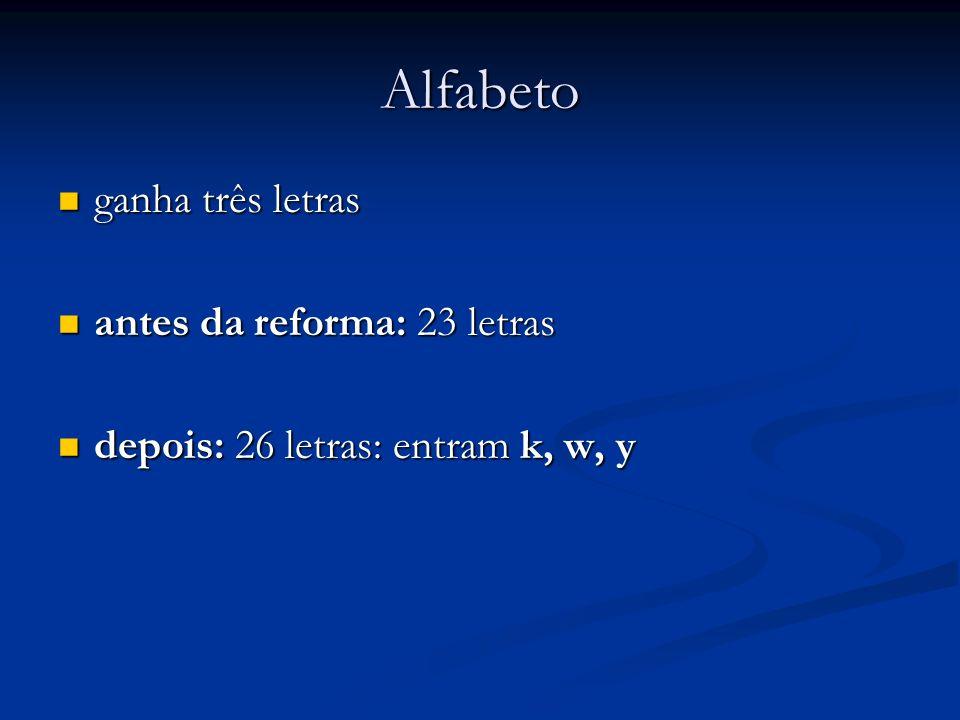 Alfabeto ganha três letras ganha três letras antes da reforma: 23 letras antes da reforma: 23 letras depois: 26 letras: entram k, w, y depois: 26 letr