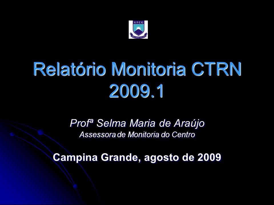 Relatório Monitoria CTRN 2009.1 Profª Selma Maria de Araújo Assessora de Monitoria do Centro Campina Grande, agosto de 2009