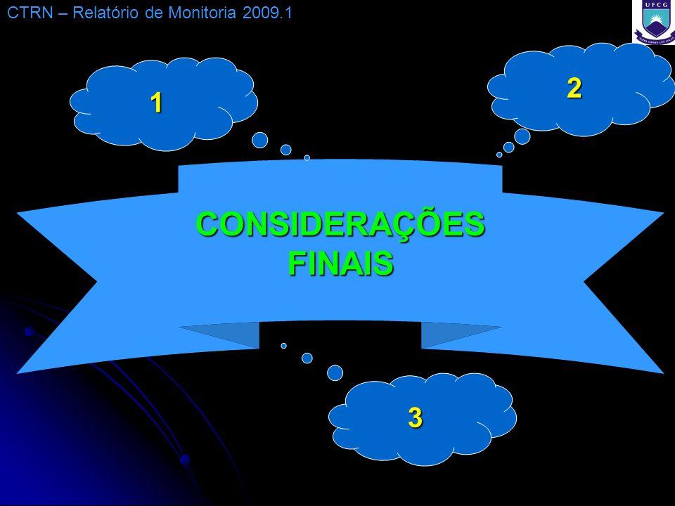 CONSIDERAÇÕES FINAIS CTRN – Relatório de Monitoria 2009.1 1 3 2