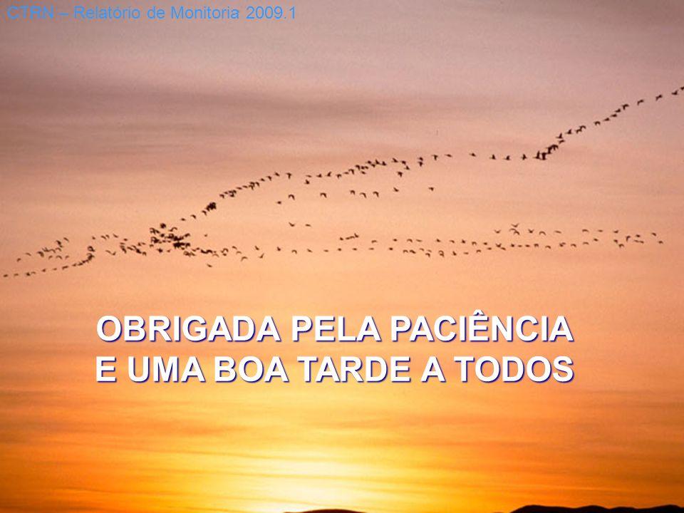 OBRIGADA PELA PACIÊNCIA E UMA BOA TARDE A TODOS CTRN – Relatório de Monitoria 2009.1