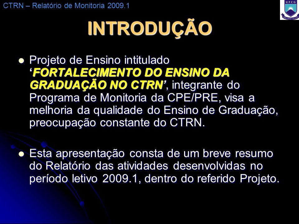 INTRODUÇÃO Projeto de Ensino intituladoFORTALECIMENTO DO ENSINO DA GRADUAÇÃO NO CTRN, integrante do Programa de Monitoria da CPE/PRE, visa a melhoria