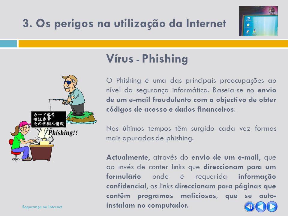 3. Os perigos na utilização da Internet Vírus - Phishing O Phishing é uma das principais preocupações ao nível da segurança informática. Baseia-se no