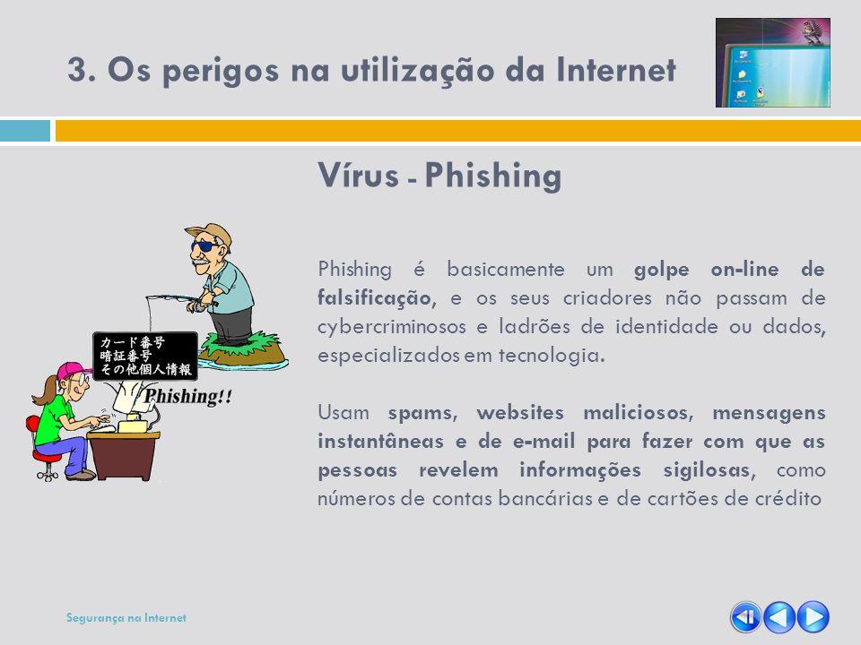 3. Os perigos na utilização da Internet Vírus - Phishing Phishing é basicamente um golpe on-line de falsificação, e os seus criadores não passam de cy