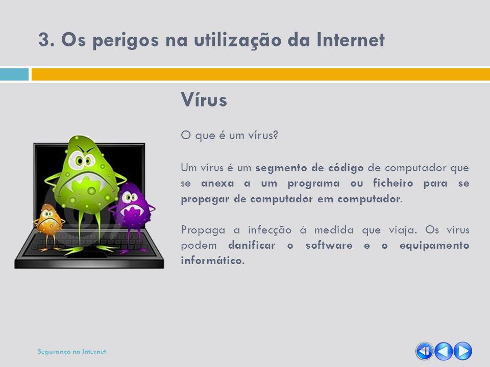 3. Os perigos na utilização da Internet Vírus O que é um vírus? Um vírus é um segmento de código de computador que se anexa a um programa ou ficheiro