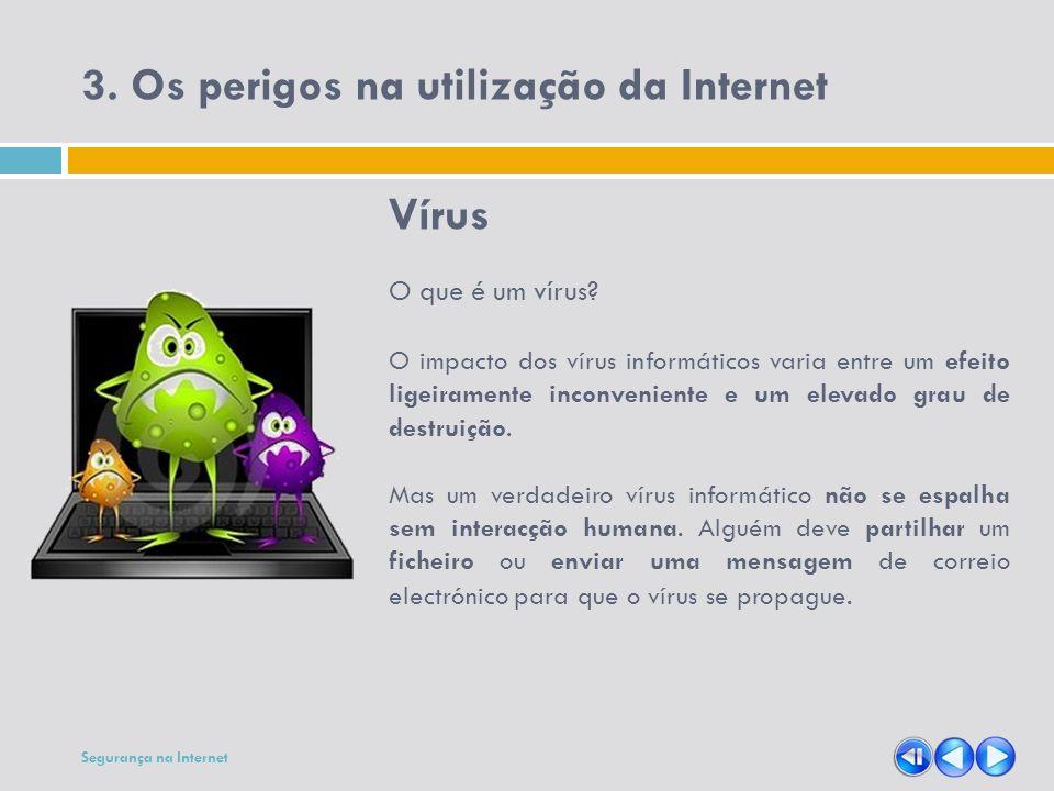 3. Os perigos na utilização da Internet Vírus O que é um vírus? O impacto dos vírus informáticos varia entre um efeito ligeiramente inconveniente e um