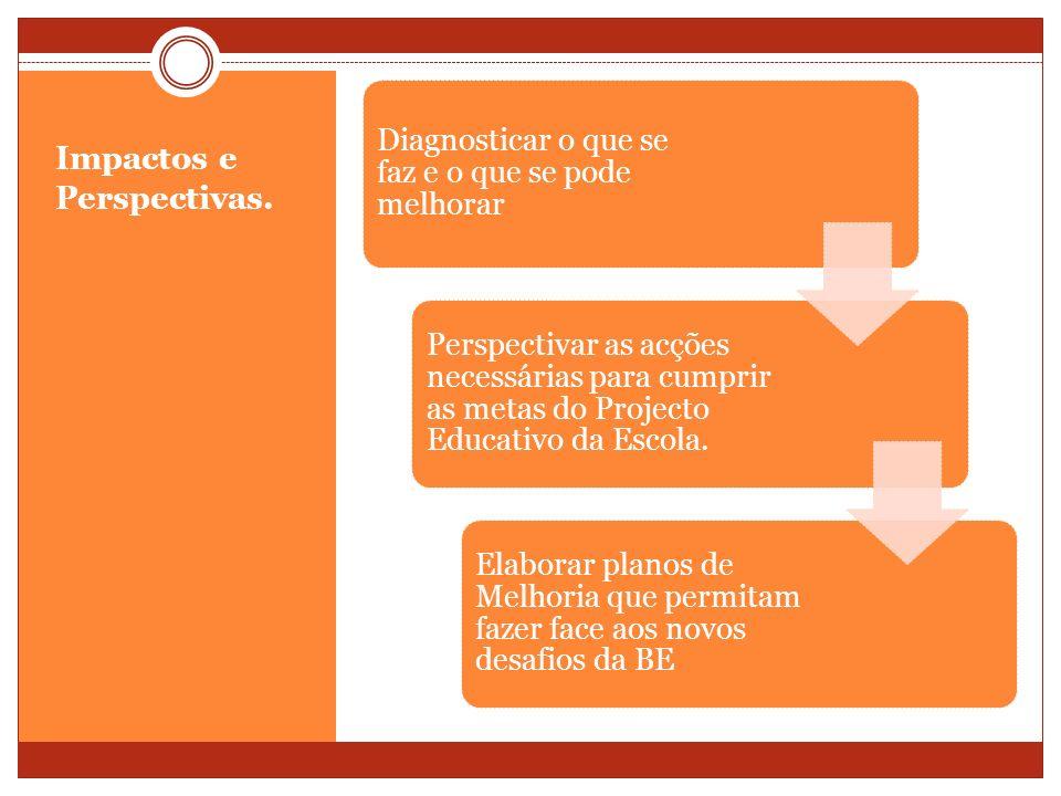 Impactos e Perspectivas. Diagnosticar o que se faz e o que se pode melhorar Perspectivar as acções necessárias para cumprir as metas do Projecto Educa