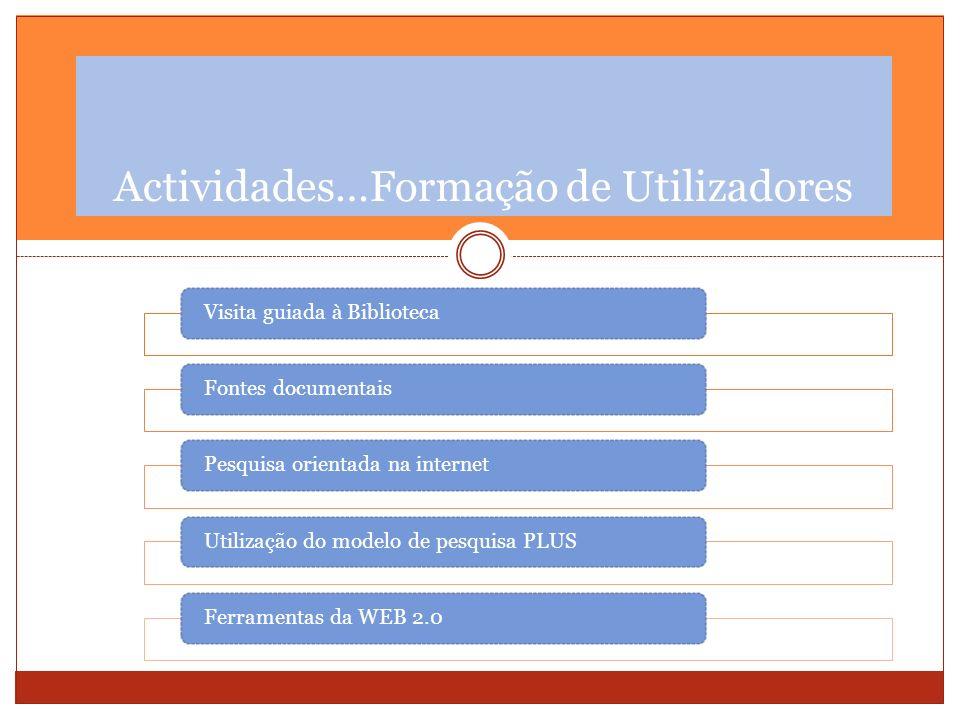 Visita guiada à BibliotecaFontes documentaisPesquisa orientada na internetUtilização do modelo de pesquisa PLUS Ferramentas da WEB 2.0 Actividades…For