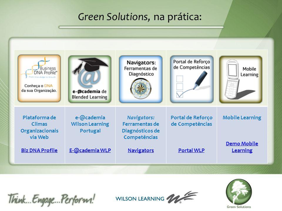 Green Solutions, na prática: Plataforma de Climas Organizacionais via Web Biz DNA Profile e-@cademia Wilson Learning Portugal E-@cademia WLP Navigator