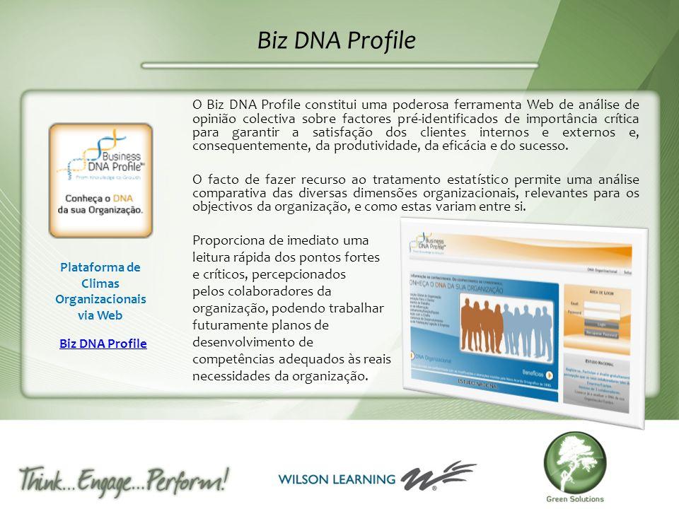 Biz DNA Profile Plataforma de Climas Organizacionais via Web Biz DNA Profile O Biz DNA Profile constitui uma poderosa ferramenta Web de análise de opi