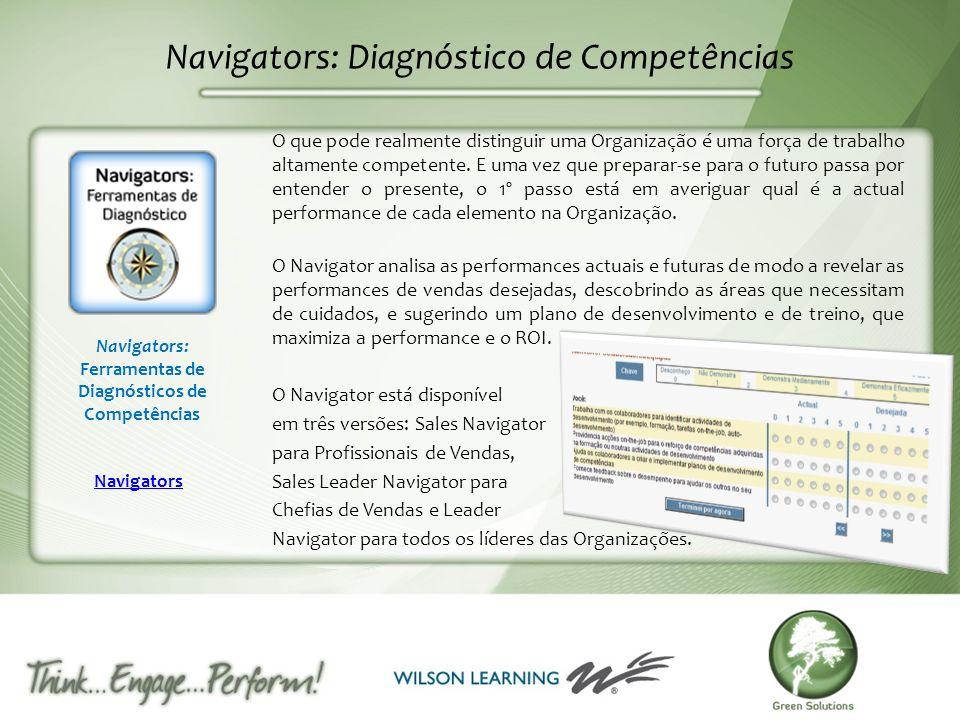 Navigators: Diagnóstico de Competências O que pode realmente distinguir uma Organização é uma força de trabalho altamente competente. E uma vez que pr