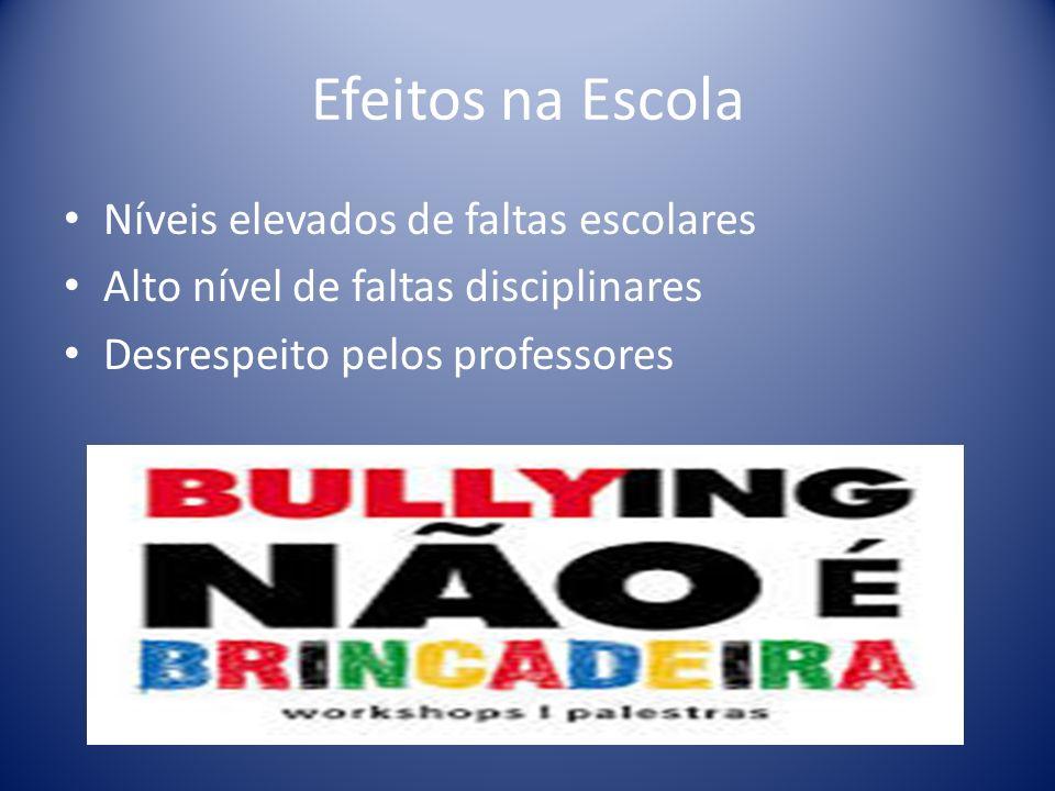 Efeitos na Escola Níveis elevados de faltas escolares Alto nível de faltas disciplinares Desrespeito pelos professores