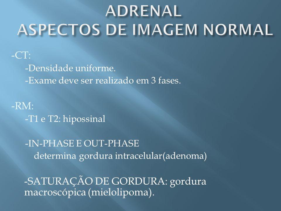 -CT: -Densidade uniforme. -Exame deve ser realizado em 3 fases. -RM: -T1 e T2: hipossinal -IN-PHASE E OUT-PHASE determina gordura intracelular(adenoma