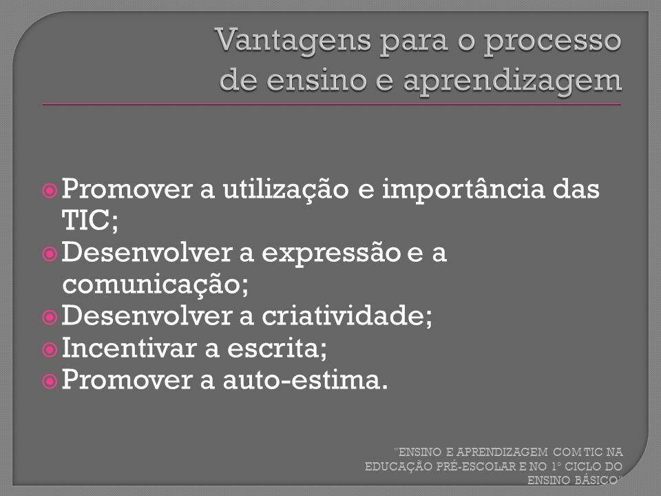 Promover a utilização e importância das TIC; Desenvolver a expressão e a comunicação; Desenvolver a criatividade; Incentivar a escrita; Promover a aut
