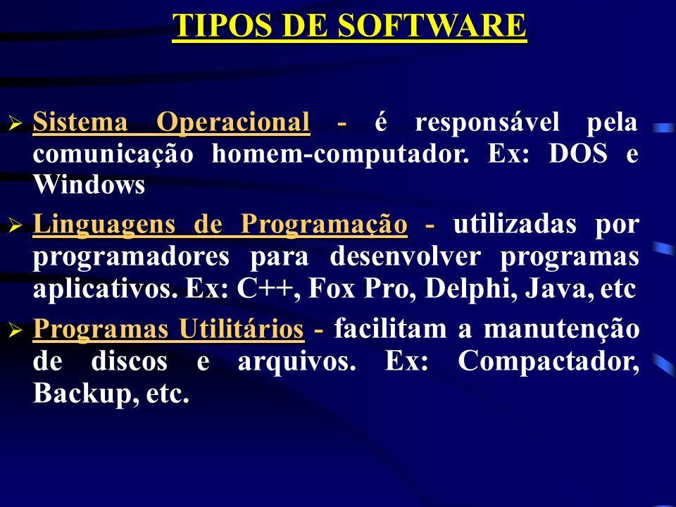 TIPOS DE SOFTWARE Sistema Operacional - Sistema Operacional - é responsável pela comunicação homem-computador.