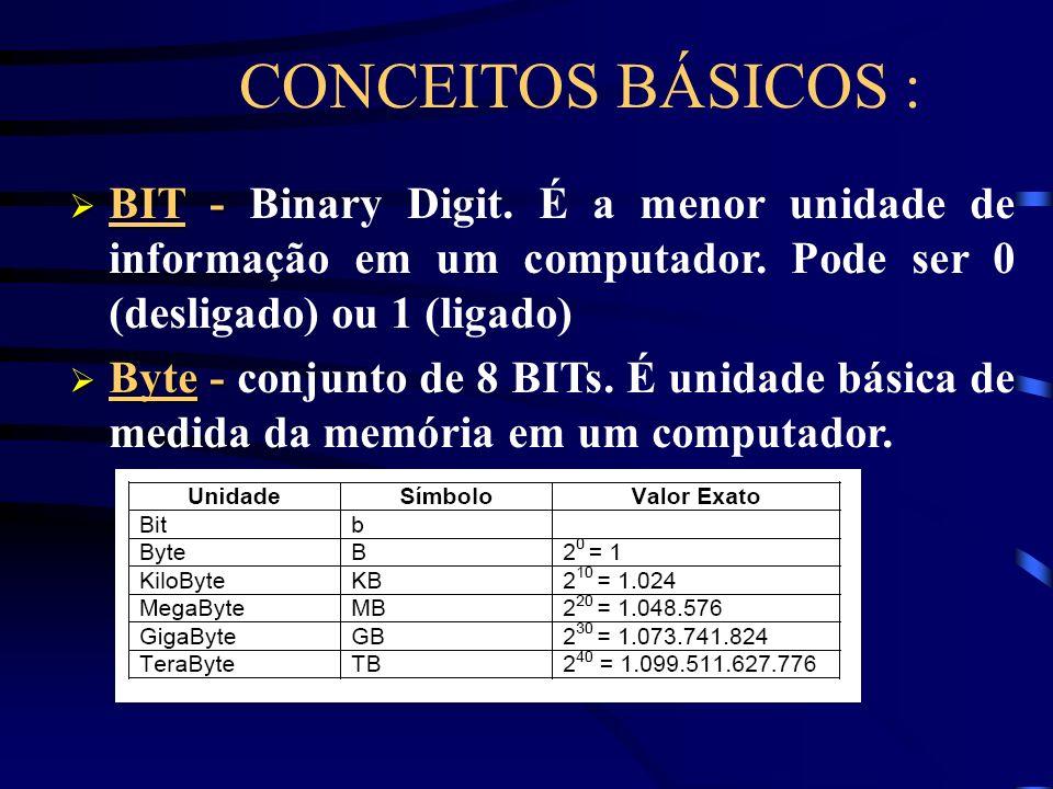 BIT - BIT - Binary Digit.É a menor unidade de informação em um computador.
