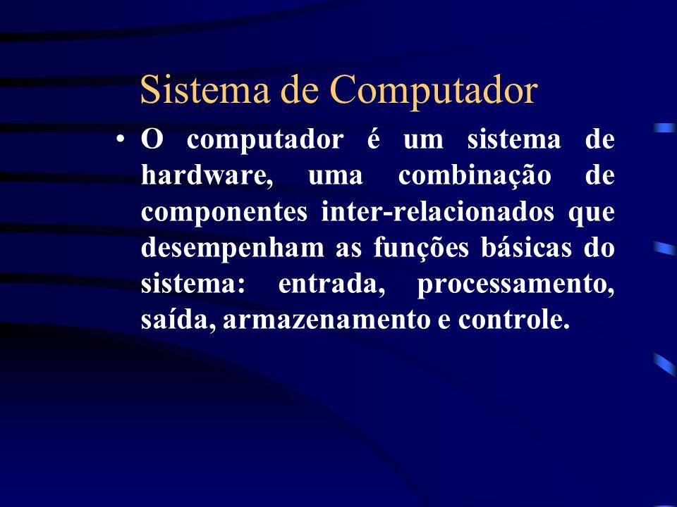 Sistema de Computador O computador é um sistema de hardware, uma combinação de componentes inter-relacionados que desempenham as funções básicas do sistema: entrada, processamento, saída, armazenamento e controle.