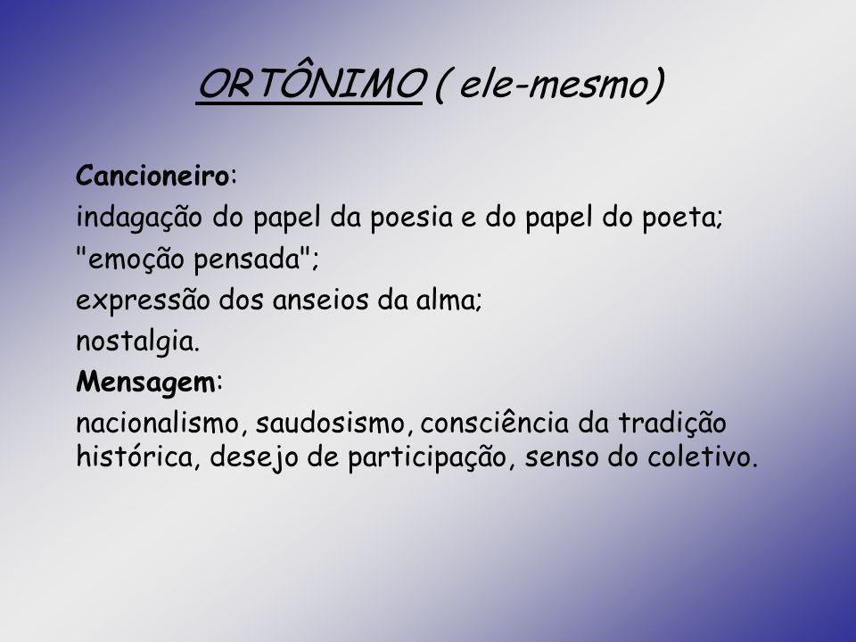 ORTÔNIMO ( ele-mesmo) Cancioneiro: indagação do papel da poesia e do papel do poeta;