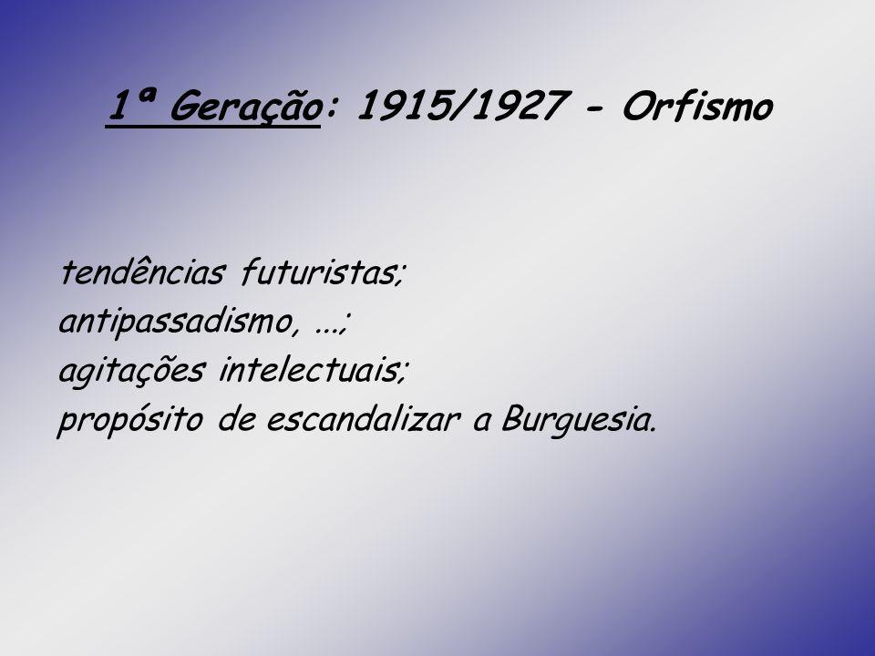1ª Geração: 1915/1927 - Orfismo tendências futuristas; antipassadismo,...; agitações intelectuais; propósito de escandalizar a Burguesia.