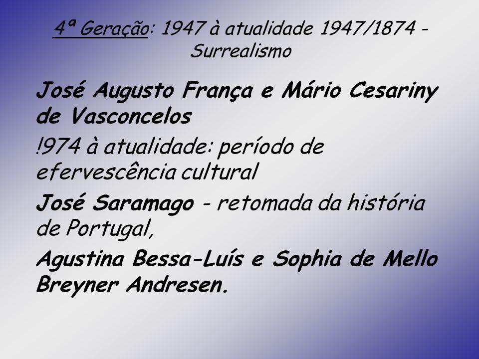 4ª Geração: 1947 à atualidade 1947/1874 - Surrealismo José Augusto França e Mário Cesariny de Vasconcelos !974 à atualidade: período de efervescência